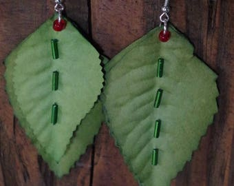 Earrings, green leaves embroidered green beads, red beads