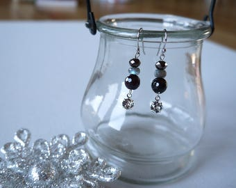 Garnet, Labradorite, And Dangling Swarovski Beads, Silver Plated Earring Wires/Clip On Earrings