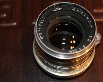 Jupiter-8 2/50 M39 rangefinder 50mm f2 lens. USSR lens. Soviet vintage lens for Leica, FED, Zorki 35mm film