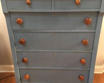Antique Six Drawer Empire Dresser
