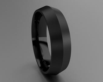 Black Silver 6mm Brushed Mens Wedding Band, Matte Knife Edge Grey Tone 925 Sterling Silver with Black Rhodium, Knife Edge Classic Mens Ring