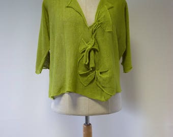 Special price. Fresh green linen blouse, L size.