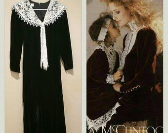 Vintage Gunne Sax Dress Jessica McClintock midi dress black velvet party cocktail dress romantic lace collar winter holiday velvet dress