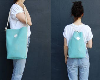 "vegan bag ""Clari"", backpack cork, light-blue backpack, tiffany-blue bag, cork bag, 2 in 1 bag, faux-leather, minimalistic bag"