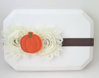 Autumn Headband,Fall Baby Headband,Pumpkin Headband,Shabby Chic Headband,Brown Headband,Ivory Headband,Orange Headband,Newborn Headband