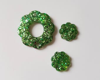 Green Sparkle Buttons