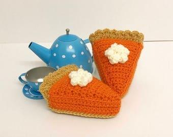 Play Food Crochet Pumpkin Pie Slice, Gift, Amigurumi