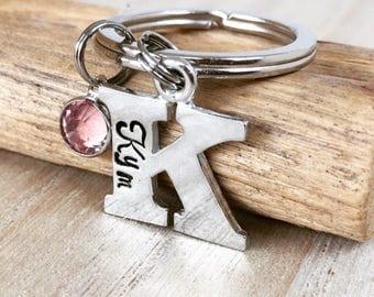 Alphabet Keyring, Initial Keyring, Personalised Keyring, Personalized Keychain, Letter, Hand Stamped, Mummy Keyring, Monogram, Gifts for Mum