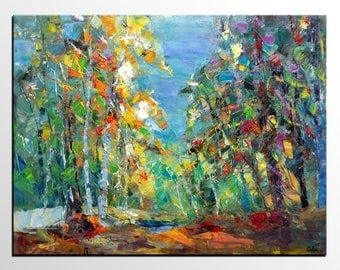 Oil Painting, Landscape Oil Painting, Large Art, Canvas Art, Abstract Wall Art, Abstract Wall Art, Bedroom Wall Art, Autumn Tree Painting