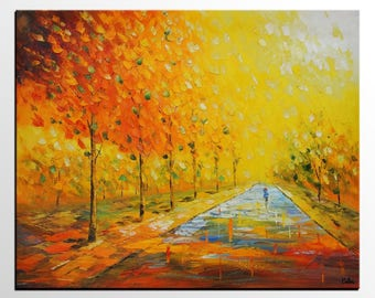 Abstract Art, Autumn Tree, Large Oil Painting, Abstract Landscape Painting, Large Art, Canvas Art, Original Painting, Living Room Wall Art