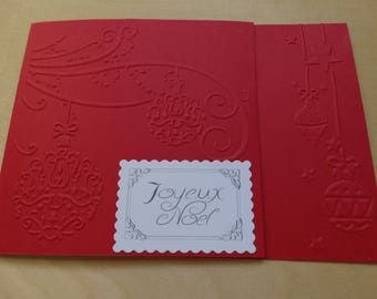 Embossed double red greeting card