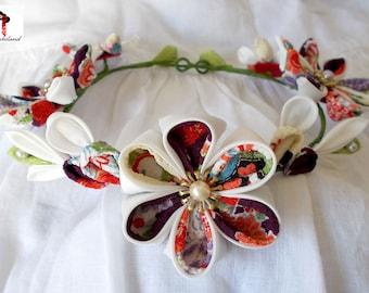 Kanzashi Japanese silk hand made wreath