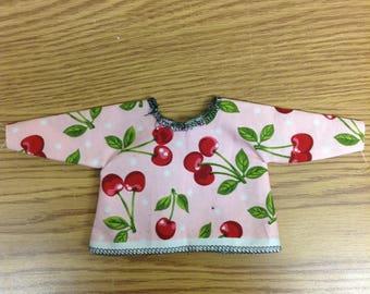 Cherry print jacket blouse.