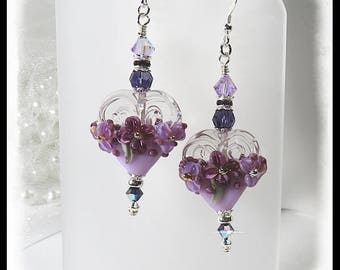 2421, Purple heart floral earrings, purple earrings, heart earrings, valentine earrings, floral earrings, valentine jewelry, 2421