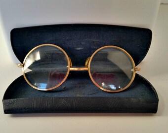 1970's Glasses and Case,1970 Glasses,1970 Eye Glasses,Old Eye Case,Old Eye Glasses,Hippy Glasses, Lennon Style Glasses,Old Eye Glasses Case