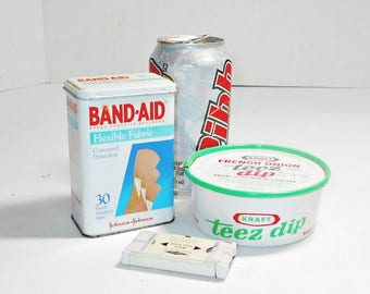 Set of 3 Advertising Tins,Advertising Tins,Band Aid Tin,Gillette Razor Blade Tin,Food Kraft Tins,Collectors Tins,Unique Collector Tins,Tins