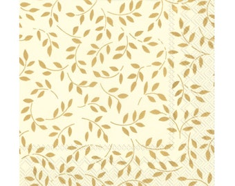 gold and cream napkins, elegant stems, leaves, 20CT, paper napkin, fall wedding decorations, Thanksgiving table decor, tableware, holidays