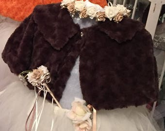 Child's Faux Fur Cape in a Rose Pattern