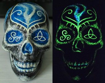 Painted Skull, Glow in the Dark, Glowing Skull, Trinity design, Triquetra, Carved Skull, Glowing art, Day of the Dead, Sugar Skull