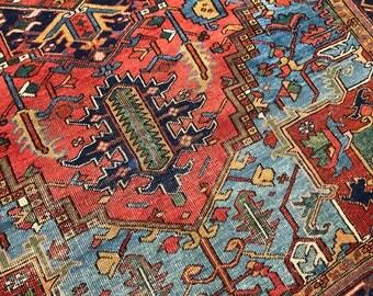 """8'2""""x11'6"""" Antique Persian Heriz Rug"""