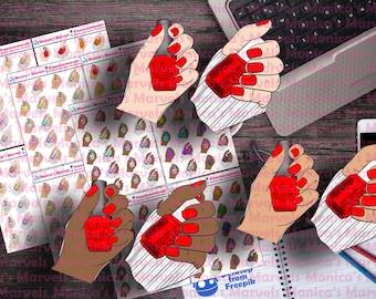 Nail Polish Hands - Stickers - 3 skin tones