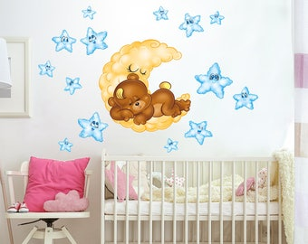 """RCC0024 """"Teddy sweet dreams"""" Wall Sticker Wall Stickers on Removable Adhesive Wallpaper Non-toxic Wall Stickers"""