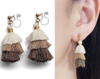 White Beige Brown Tiered Tassel Clip On Earrings, Dangle 3 Layered Ombre Stacked Fringe Invisible Clip on Earrings, Non Pierced Earrings