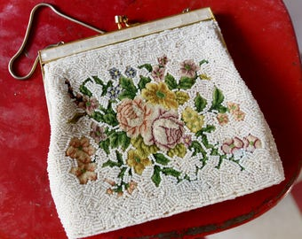 Vintage Petit Point Micro Beaded Purse, Needlepoint Tapestry Evening Bag