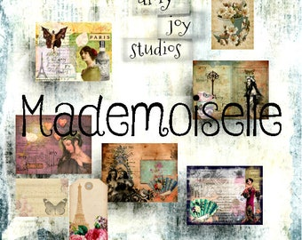 Mademoiselle  French  Junk Journal Kit  Junk Journal Vintage  Printable Journal  DIY journal  digital journal  collage  ephemera pack