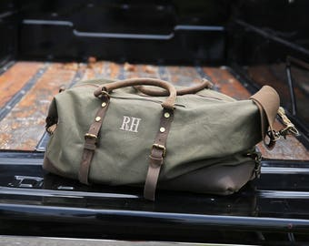 Personalized Groomsmen Gift, Military Style Weekend Travel Duffel Bag Canvas Weekender, gifts for him, groomsman gifts gift for groom
