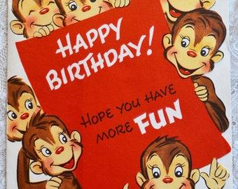 Vintage Birthday Card - Pop Up Barrel Full of Monkeys - Used
