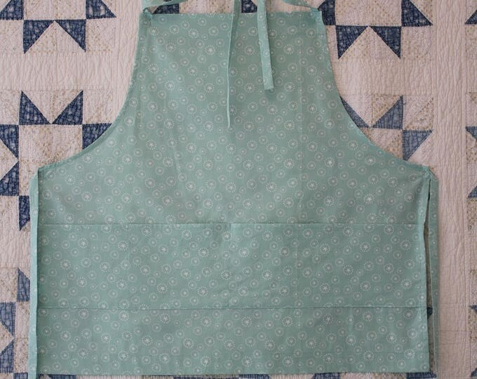Adult Apron in Pale Blue with White Stars. Roomy Pocket. Man's Apron. Super Star Apron in Light Blue Guy's Valentine gift for BBQ Master