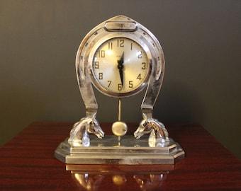 Vintage Horse Clock, Chrome Horseshoe Clock, Metal Mantle Clock, Howard Horse Shoe Clock, Office Clock with Pendulum and Convex Glass Face