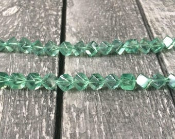 Full Strand Natural Green Fluorite Diagonal 7.5 – 8mm Cube Beads