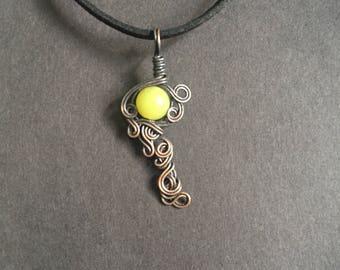 Lemon Jade Copper Wrapped Pendant Necklace