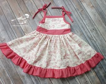Girls 4T dress Toddler dress preschooler dress red and cream dress farm dress gingham dress Ready to ship One of a kind girls sundress