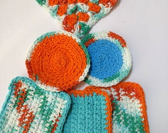 Coasters Set of 6 orange blue retro 70s inspired crochet coasters seventies housewarming gift kitchen dining decor home and living
