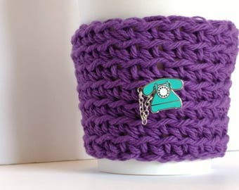 Cozy, purple Cup Sleeve, rotary phone pin, Reusable Ecofriendly cup cozy, retro gift, coworker gift, stocking stuffer, seventies nostalgia
