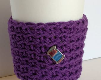 Cozy, purple Cup Sleeve, with sewing thread pin, gift for maker, Coffee Sleeve, Reusable Eco friendly cup cozy, gift for Mom, coworker gift
