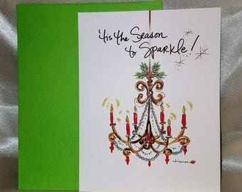 """Glitter holiday cards """"Tis the Season to Sparkle"""" Glitter Candle Chandelier with Holly Blank Holiday Card Set"""