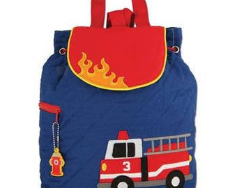 Stephen Joseph Quilted Backpack Firetruck Fireman themed Monogrammed School Backpack