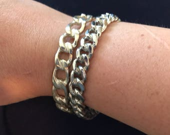 Bangle bracelets - two - silver colored - not silver