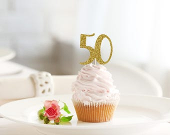 50 HAPPY BIRTHDAY glitter cupcake topper set of 12 - 50th cupcakes / cake / food picks / party decoration