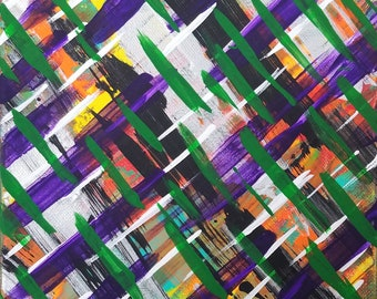 "Purple, Green, White, Black, Orange and Yellow 8x10"" Original Abstract Acrylic Painting on Canvas ""Series 9 LVI"" Wall Art, Home Decor"