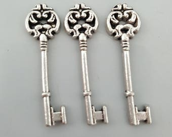 Key Charms, Antiqued Silver, 30x7mm - 5 Pieces