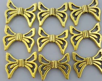Butterfly/Angel Wings Beads, 16x20mm, 10 Pieces - Select Silver or Gold Finish