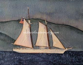 American Flag Clipper Ship Watercolor Print. Ship painting. Nautical decor. Watercolor art. Ship wall art. Ship picture. Ship artwork.