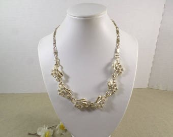 STAR! Beautiful Vintage Gold Tone Rhinestone Necklace Signed Star  DL#3199