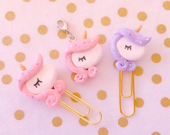 Sweet Kawaii Unicorn Charms - Handmade Polymer Clay Charms / Planner Clips / Planner Accessories