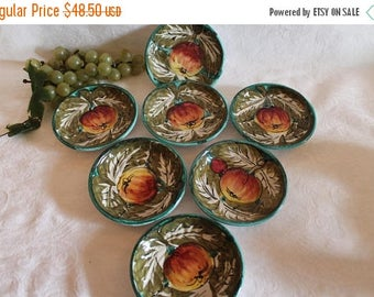 """Christmas in July Set of 7 Italian Ceramic 4.5"""" Coasters or Mini Appetizer Plates - Hand Painted Fruit"""